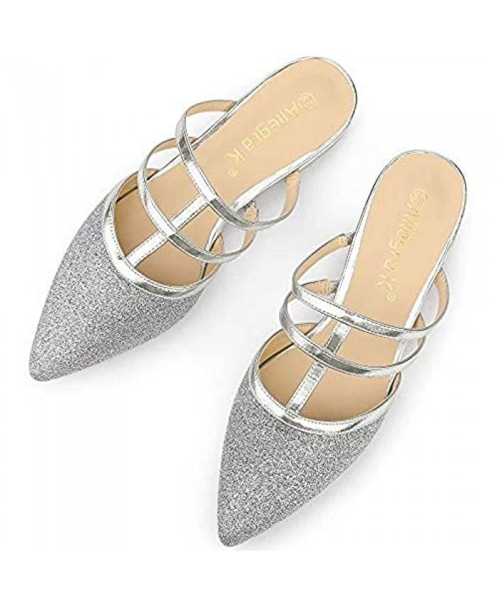 Allegra K Women's Glitter Pointed Toe Flats Mules