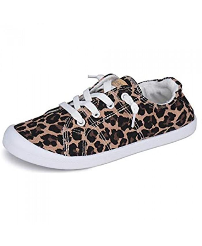 JENN ARDOR Women's Low Top Canvas Slip On Sneaker Comfort Casual Shoes Walking Flats