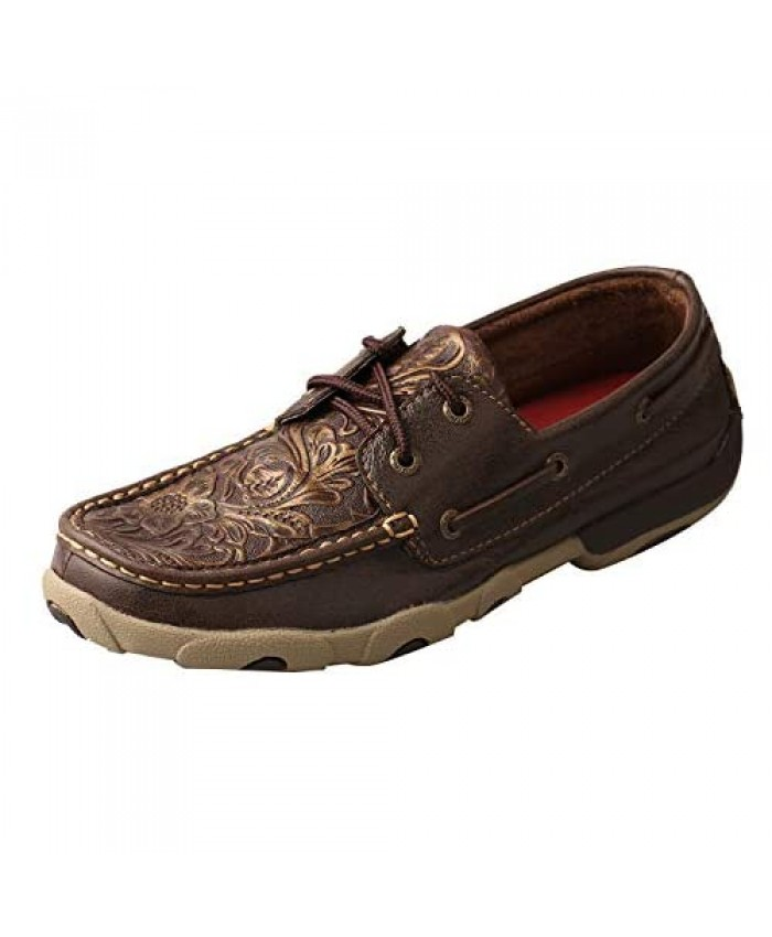 Twisted X Women's Boat Shoe Driving Moc Brown/Embossed Flower 8(M)