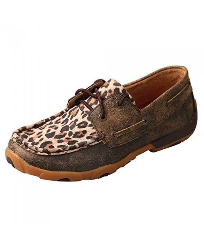 Twisted X Women's Boat Shoe Driving Moc Distressed/Leopard 6.5(M)