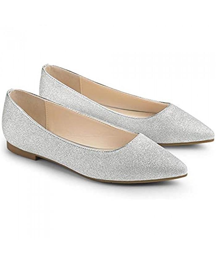 Allegra K Women's Glitter Pointed Toe Slip on Ballet Flats Shoes