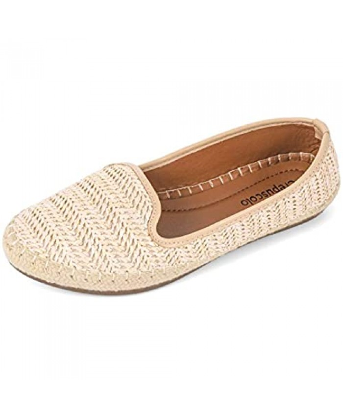 CREPUSCOLO Ballet Flats for Women Woven Flat Shoes Slip-on Loafers Round Toe Comfort Casual Women's Flats Walking Shoes