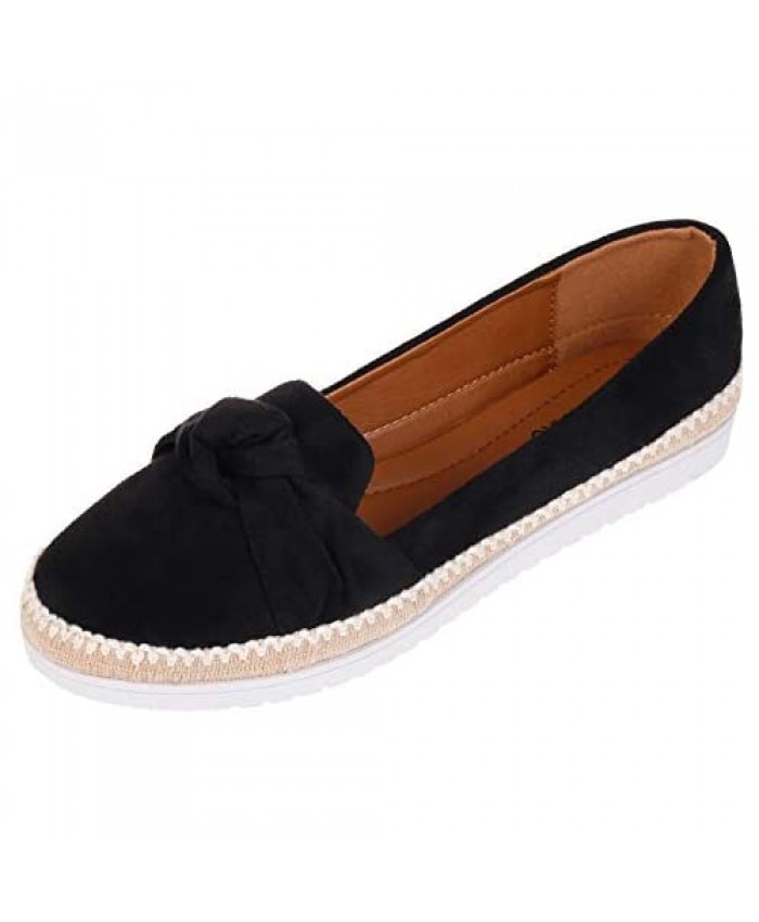 CREPUSCOLO Women's Ballet Flats Slip On Flat Shoes for Women Casual Comfort Faux Suede Round Toe Outdoor Walking Shoes