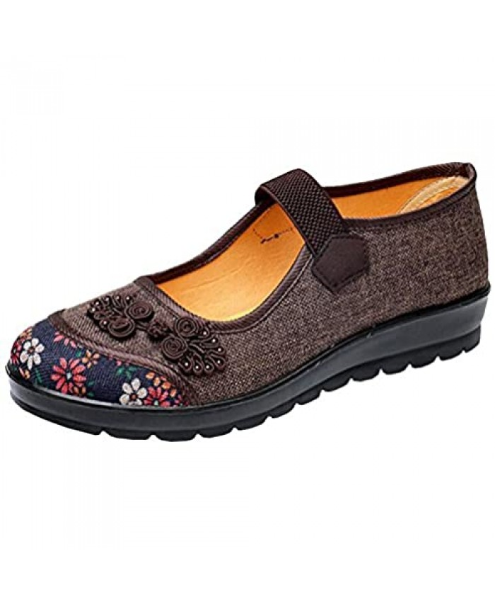 missfiona Womens Hollow Out Granny Walk Shoes Breathable Soft-Soled Mary Jane Flats Dance Shoes