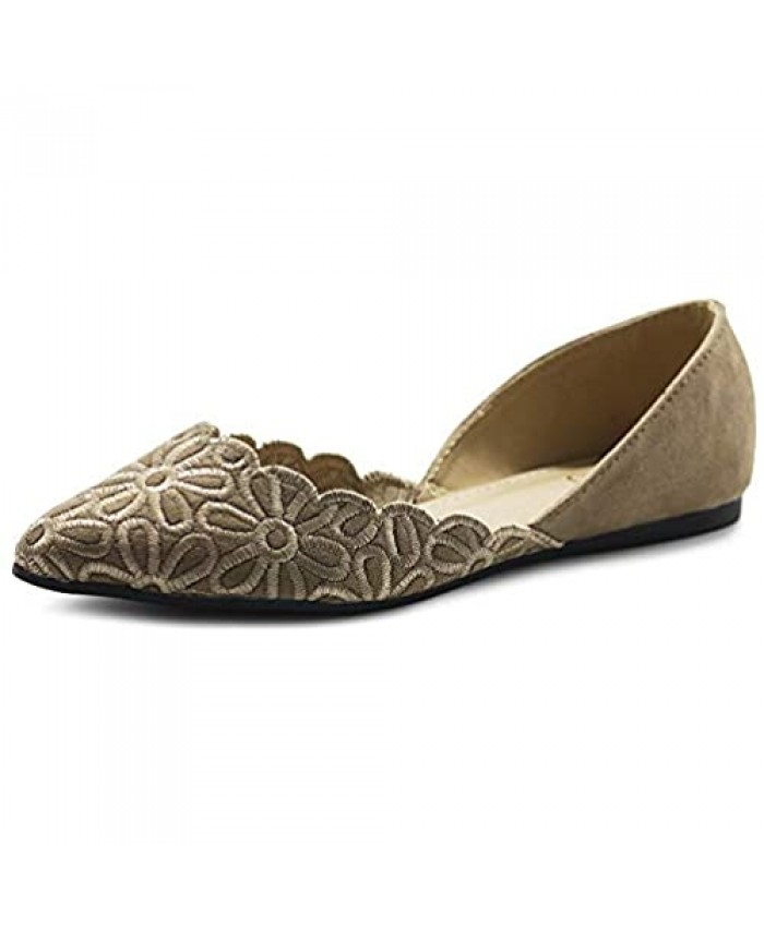 Ollio Women's Shoes Faux Suede Comfort Floral Embroidery Pointed Toe Ballet Flats F91