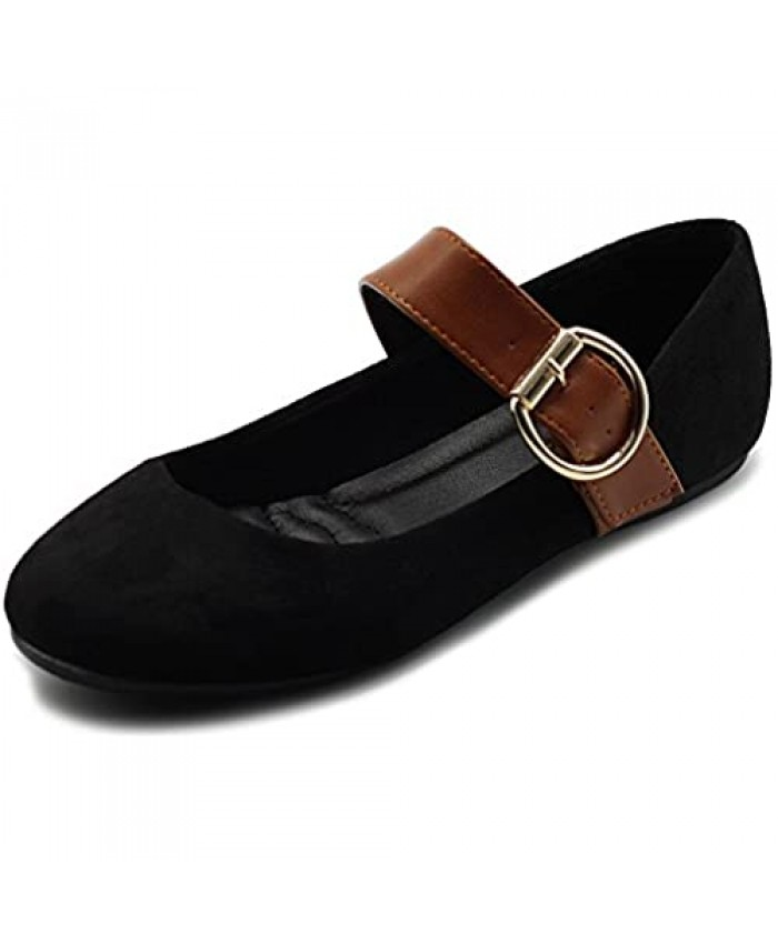 Ollio Women's Shoes Faux Suede Mary Jane Belt Slip On Comfort Light Ballet Flats