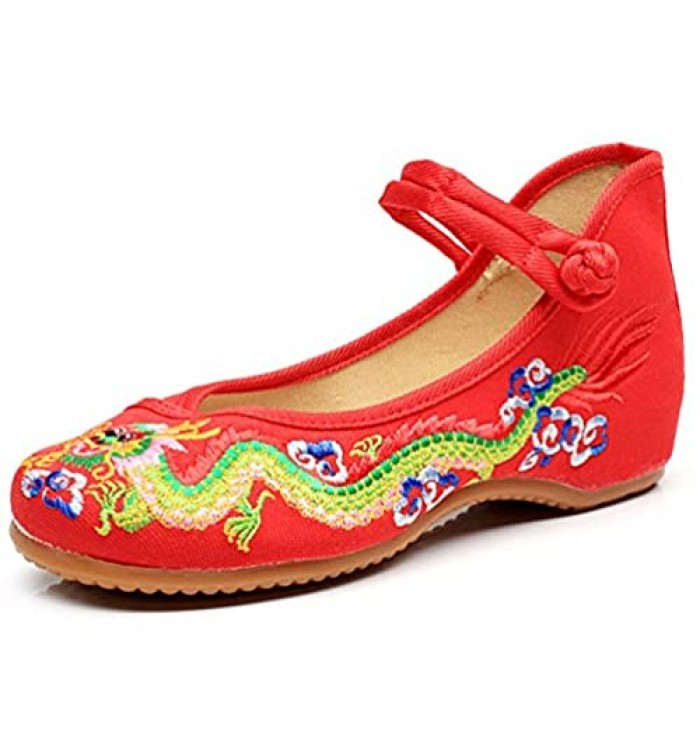 Qhome Womens Chinese Traditional Dragon Embroidery Flats Cheongsam Walking Mary Jane Shoes