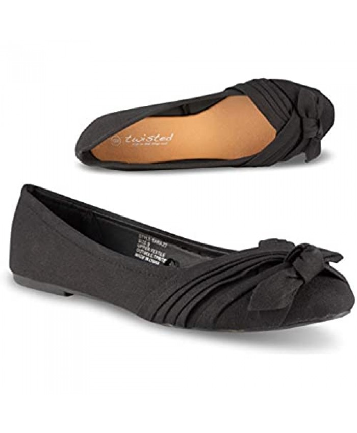 Twisted Sara Womens Flats Ladies Canvas Ballet Shoes with Comfort Insole Wrap Bow Toe