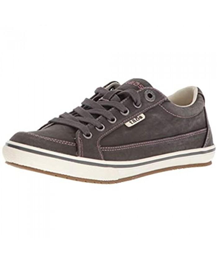 Taos Footwear Women's Moc Star Graphite Distressed Sneaker 7.5 W US