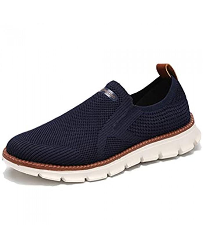SANNAX Men Athletic Walking Shoes Work Sneakers Elastic Sock Casual Lightweight Breathable Comfortable Foam