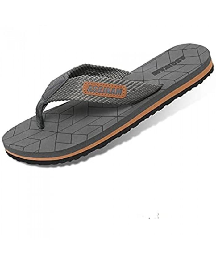 ASGJKAM Men's Flip Flops Comfort Casual Men Thong Sandals Slippers for Beach Size 8-13