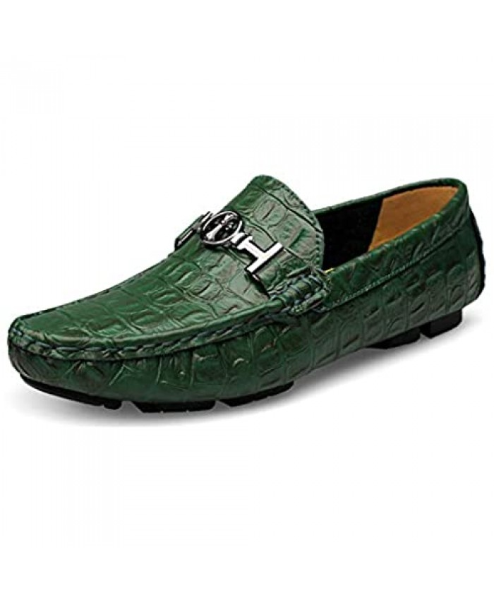 """Mens Cross Flat Casual Loafers Male Leather Driving Walking Moccasin Business Classic Dress Boat Shoes 8.5-9 Green 10.25"""" Heel to Toe"""