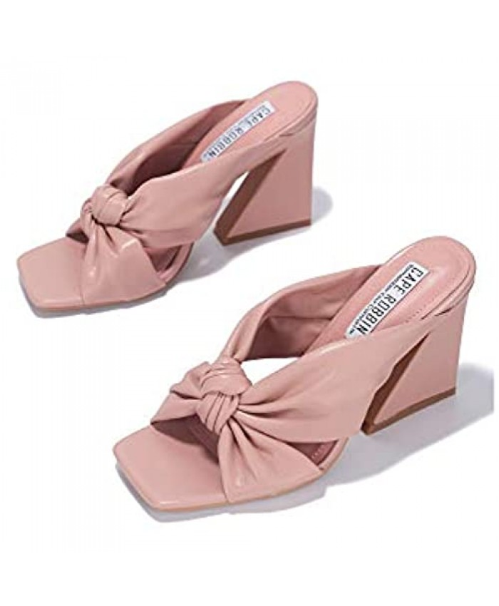 Cape Robbin Anni Sexy Chunky High Heels for Women Booties for Women with Square Open Toe