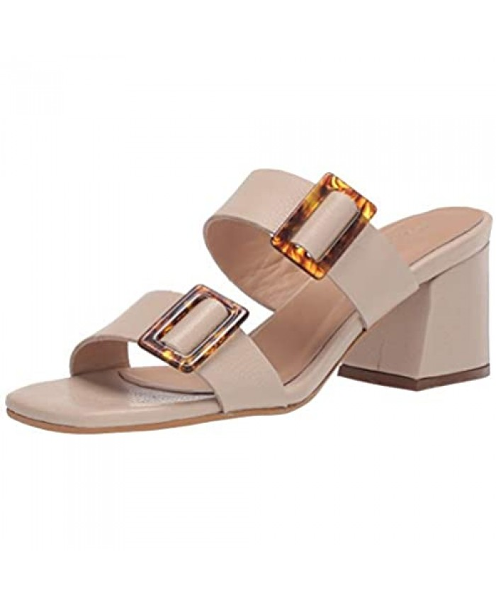 KAANAS Women's Syros Double-Band with Tortoise Buckle Block Heeled Sandal