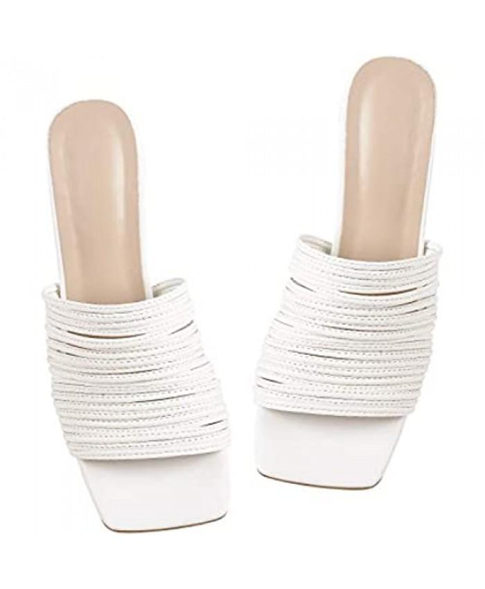 LISHAN Women's Square Toe Strappy White Sandals Slip On Open Toe Mules Strap Heeled Slides