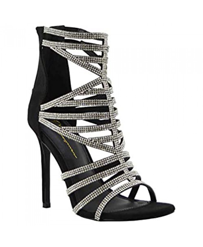 Olivia Jaymes Women Dressy Block Heel Sandal Rhinestone Accents