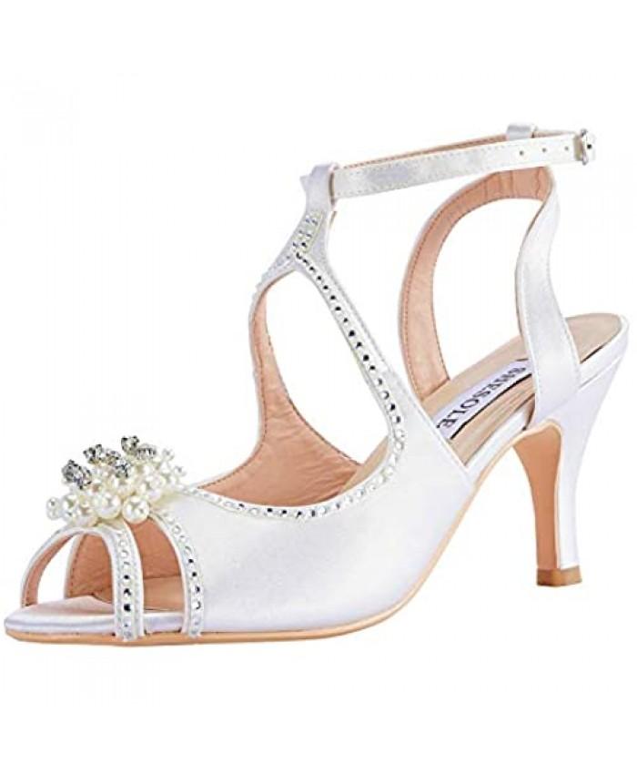 SheSole Women Low Heel Open Toe Sandals Rhinestone Pearls Satin Bridal Wedding Shoes For Bride