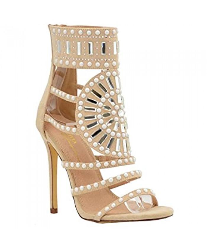 Women's Dress Strappy Sandals | Embellished Rhinestone Jeweled Ankle Wrap Ties Cuff | Stiletto Gladiator Heels Sandal