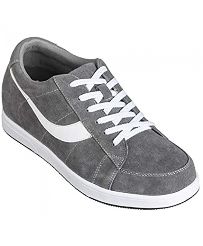 Toto Men's Invisible Height Increasing Elevator Shoes - Lace-up Suede Leather Sneakers - 2.8 Inches Taller