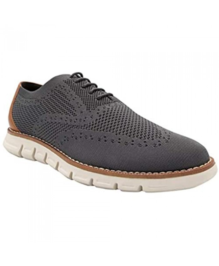 NINE WEST Mens Wingtip Shoes | Casual Shoes for Men | Stretch Knit Lace Up Mens Oxford Shoes | Fashion Shoes for Men with Deep Grooves in Outsole That Mimics The Natural Motion of The Foot - Kaito