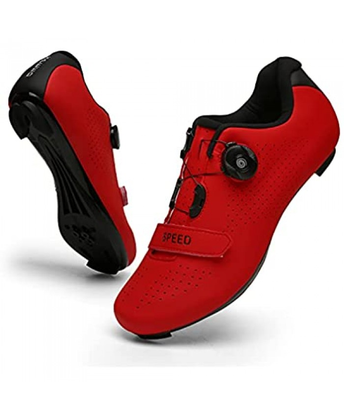 Mens Womens Cycling Shoes Compatible with Indoor Peloton Outdoor Mountain Road Bike Spin Shoes with Look Delta Cleats (Red 6)