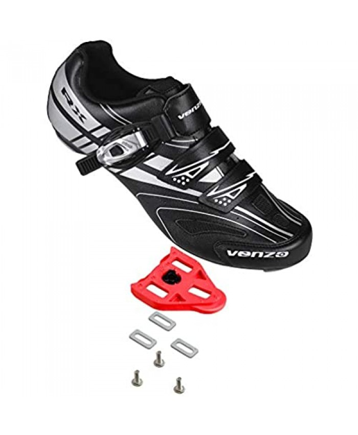 Venzo RX Bicycle Unisex Men's or Women's Road Cycling Riding Shoes - Compatible with Peloton Shimano SPD & Look ARC Delta - Perfect for Indoor Indoor Road Racing Bikes Black