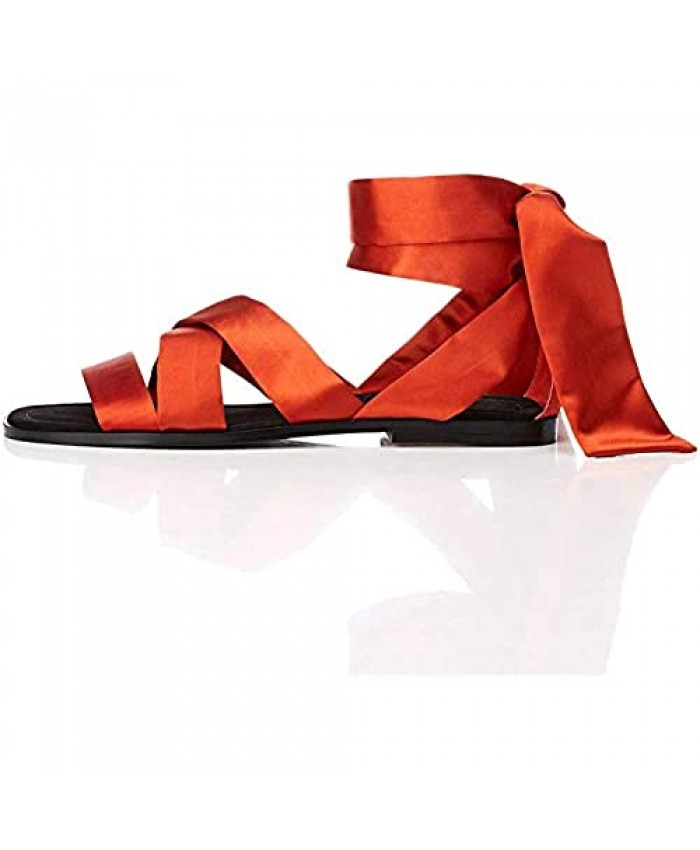 Brand - find. Women's Satin Tie Up Flat Sandal Shoes