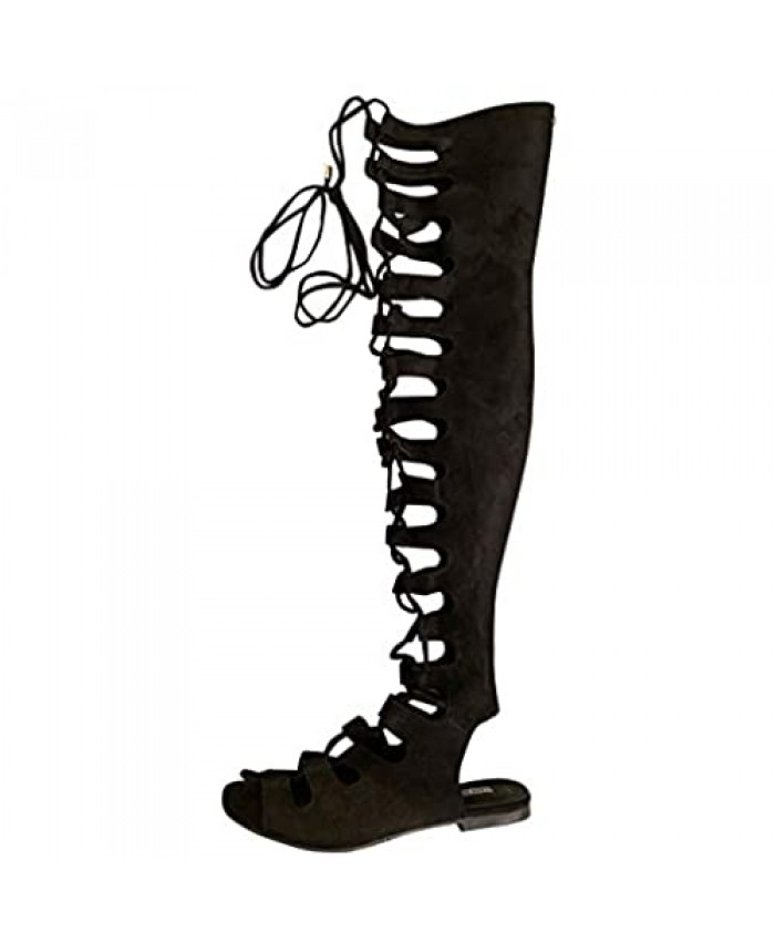 Cape Robbin Womens Open Toe Lace Up Gladiator Over The Knee Thigh High Caged Flat Sandal Boot