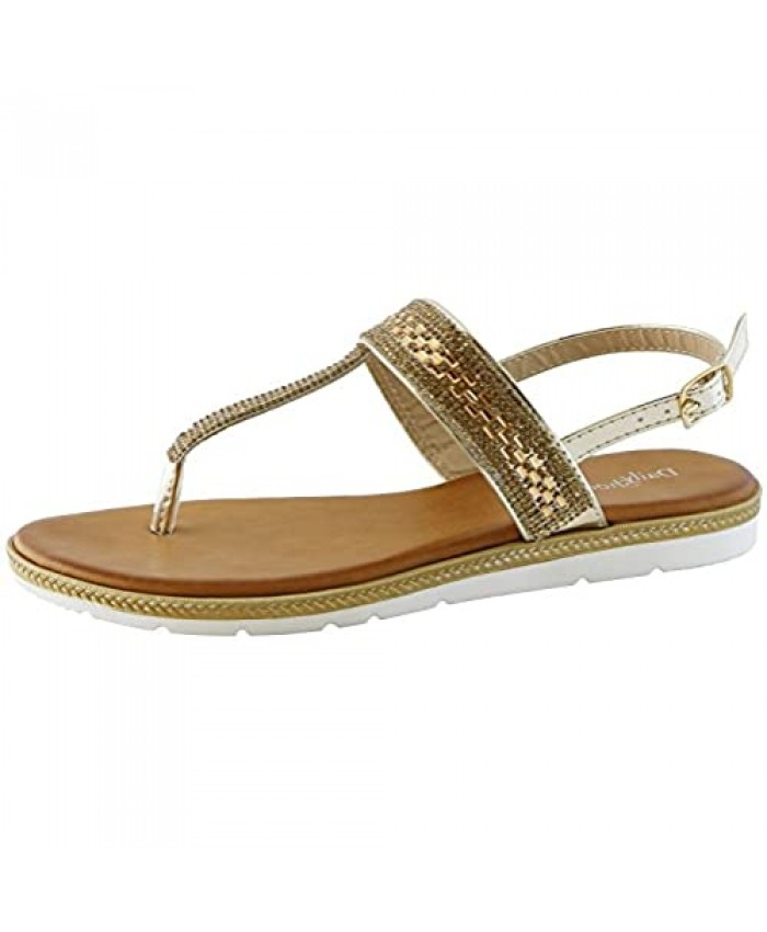 DailyShoes Women's Flat Casual Rhinestone T-Strap Thong Flats Ultra Comfortable Daily Shoes Wear