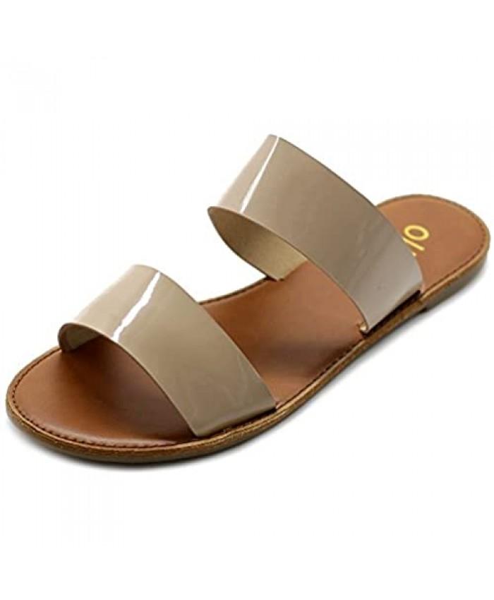 Ollio Women's Shoe Patent Two Strap Flat Sandals