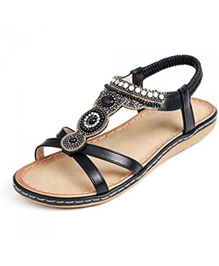 Solacozy Womens Bohemian Summer Sandals Bead Style Beach Sandals Comfy Slip On Sandals Ankle Strap Flip Flops Open Toe Flat Gladiator Sandals Elastic Flat Sandals for Women
