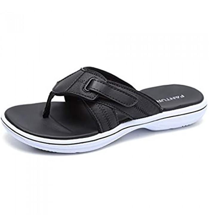 FANTURE Women Arch Support Sandal for Comfortable Walk Thong Style Casual Flip Flops U419SLT002-Black-02-40