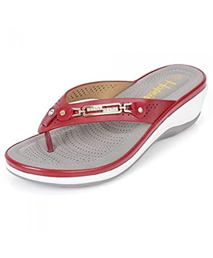 Generies Hapeis Women's Flip Flops Sandals Wedge Sandals Bohemian Sandals Comfy Buckle Rhinestone Causal Summer Shoes