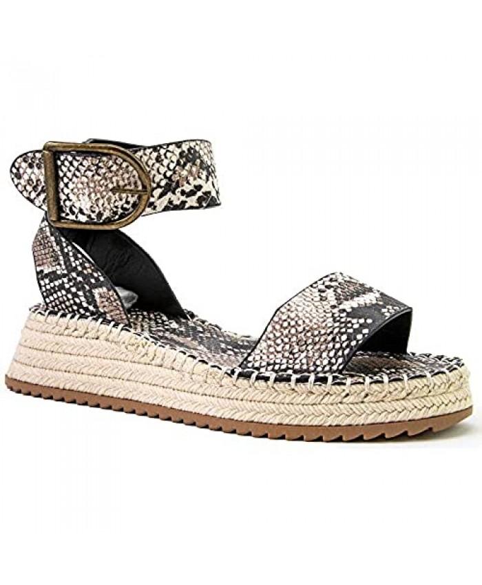 Qupid Fabio Platform Sandals for Women - Animal Print Open Toe Espadrilles