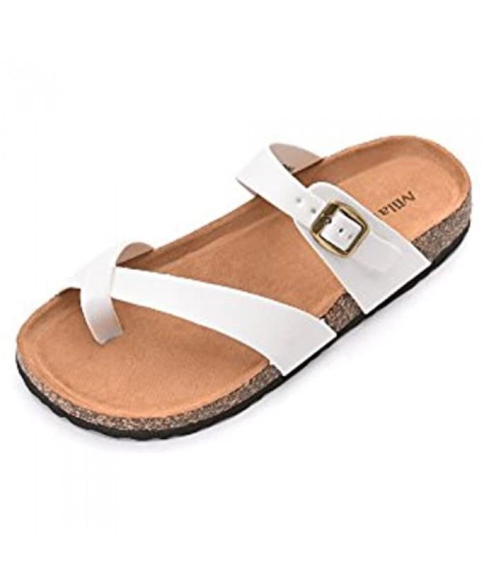 Mila Lady Womens Summer Comfortable Strappy Flip Flops Cork Sole Slide Flat Slipper Sandals
