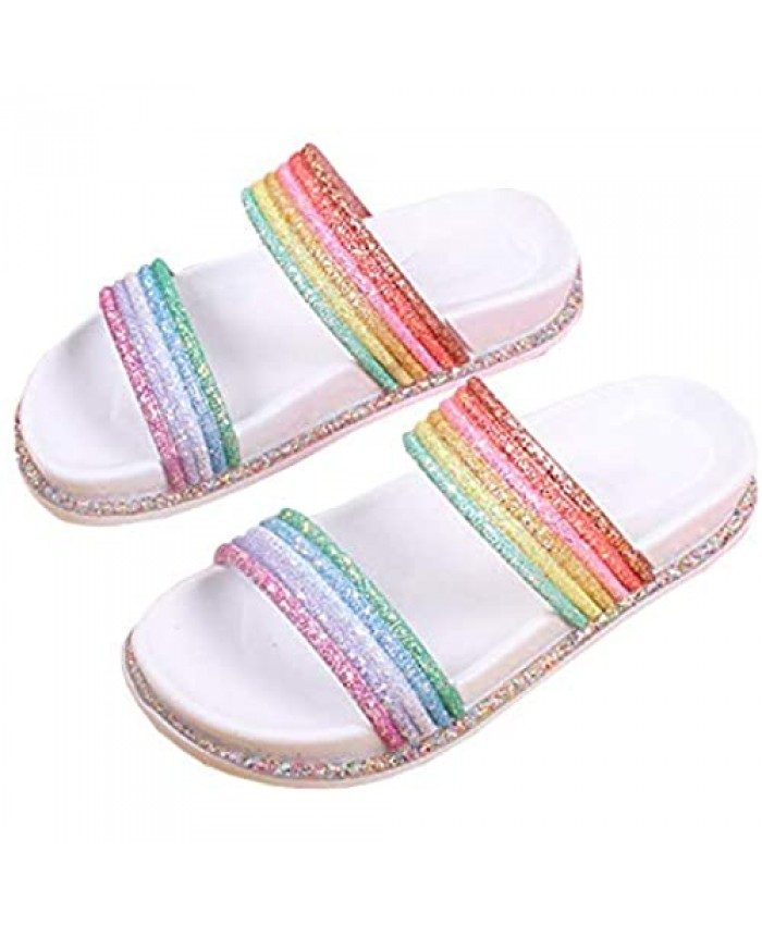 Nailyhome Womens Open Toe Rainbow Slides Sandals Glitter Encrusted Slip On Cute Backless Beach Flats Slippers