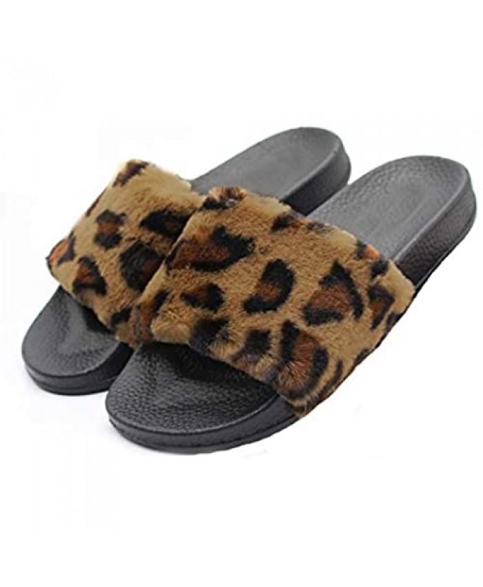xsby Women's Soft Faux Fur Flat Slide Sandals Comfortable Slipper