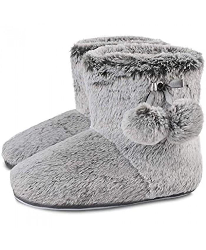 DL Women's Cute Bootie Slippers Fluffy Plush Fleece Memory Foam House Shoes Winter Booty Slippers