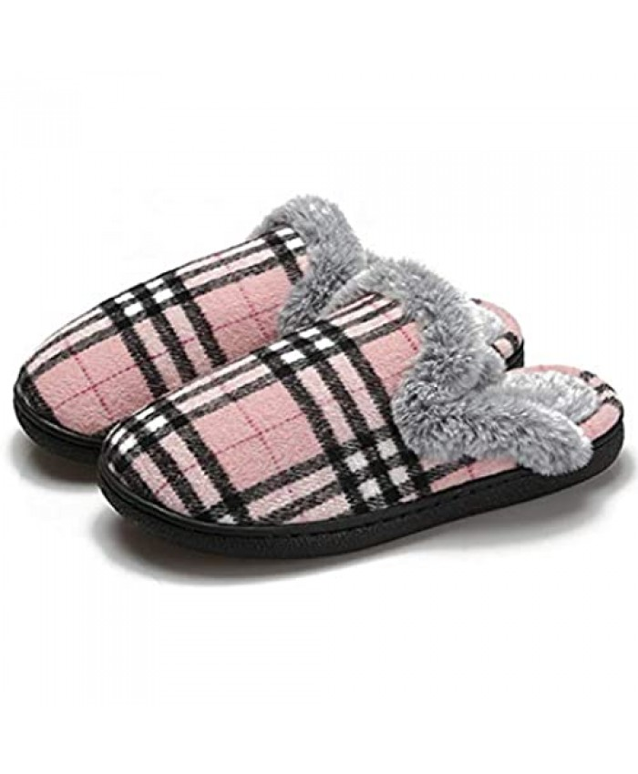 Fashion Home Cotton Slippers for Women Mens Winter Warm Memory Foam Bedroom Slippers for Girls Soft Fuzzy Plush Lining Slip On House Slippers with Anti-Skid Indoor Outdoor Shoe Rubber Sole