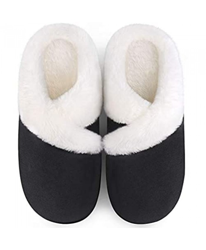 Homitem Women's Cozy Memory Foam Slippers Ladies Fuzzy Fleece Lining Slip on Suede House Slipper Shoes with Anti-Skid Rubber Sole Indoor Outdoor Shoes