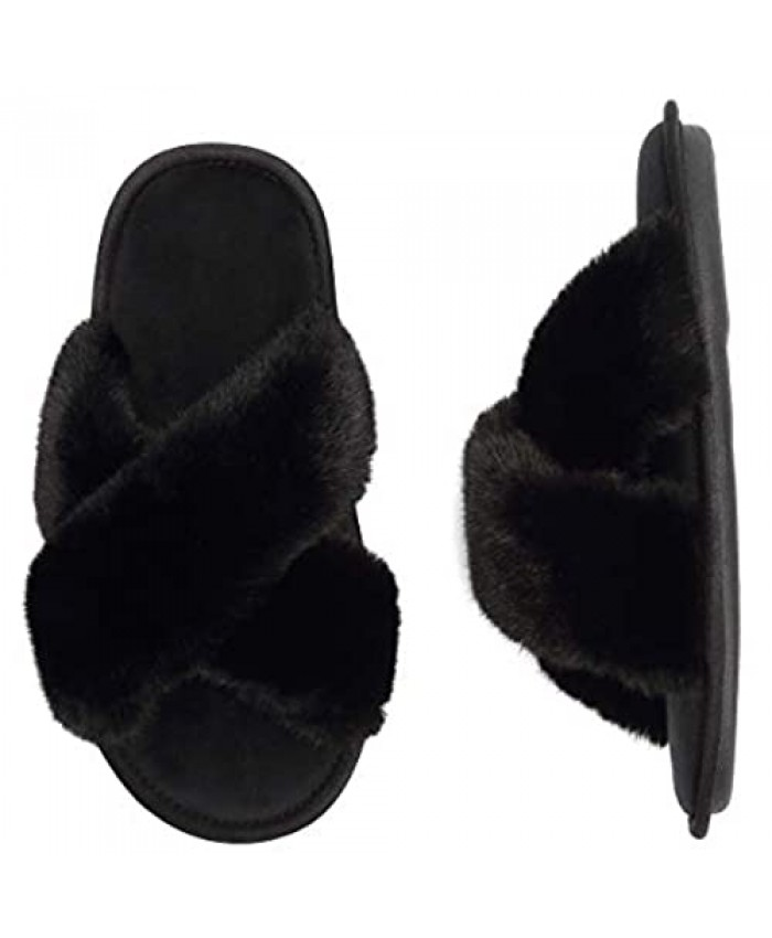 Women's Cross Band Slippers Memory Foam Soft Plush Indoor House Shoes