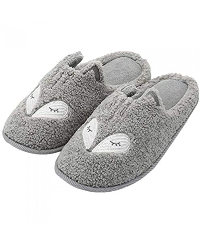Women's Cute Animal Warm Slippers Memory Foam Cotton Home Slippers Soft Fleece Plush House Slippers Indoor Outdoor