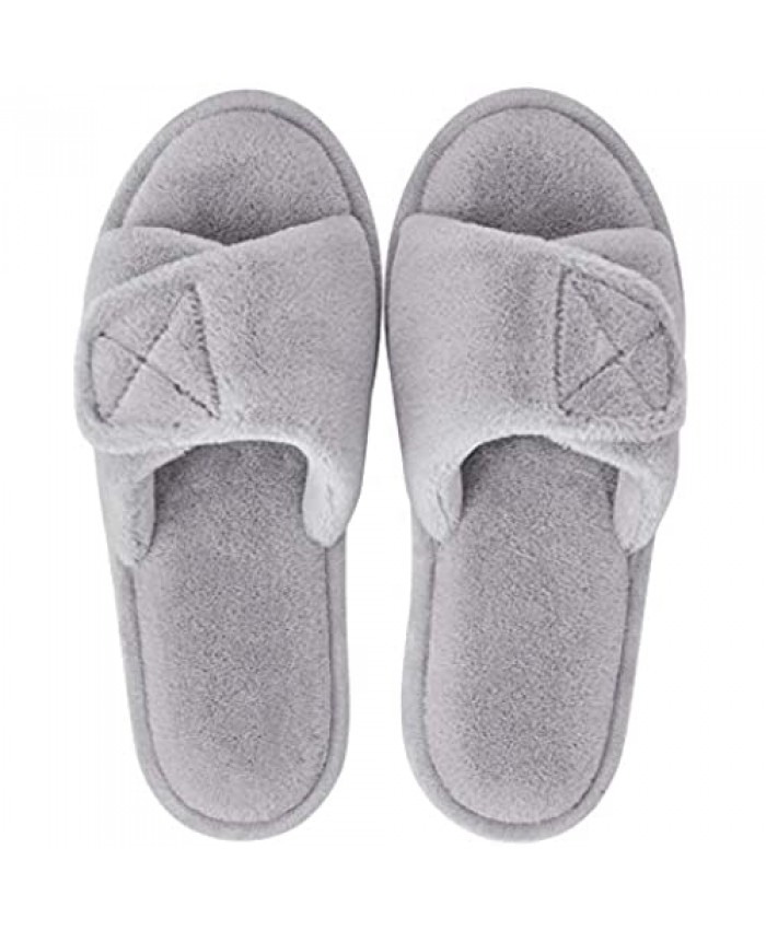 Womens House Slippers Open Toe Adjustable Comfort Slipper Fuzzy Indoor Slide Sandals Soft Memory Foam Slip-on Breathable Rubber Sole